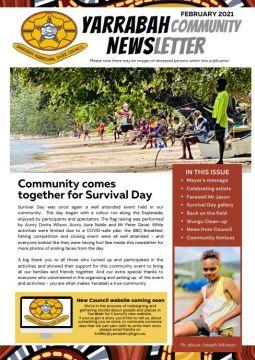 Frontpage of newsletter Yarrabah Community Newsletter_February 2021